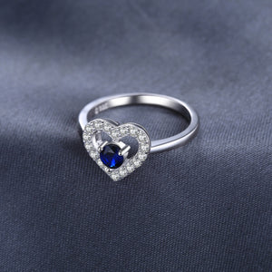 Love Heart Created Blue Spinel Ring Engagement Ring Bridal - BEAUVAN