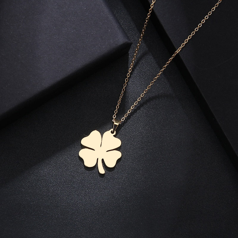 Stainless Steel Necklace For Women Man Lover's Clover Gold And Silver Color Pendant Necklace Engagement Jewelry - BEAUVAN