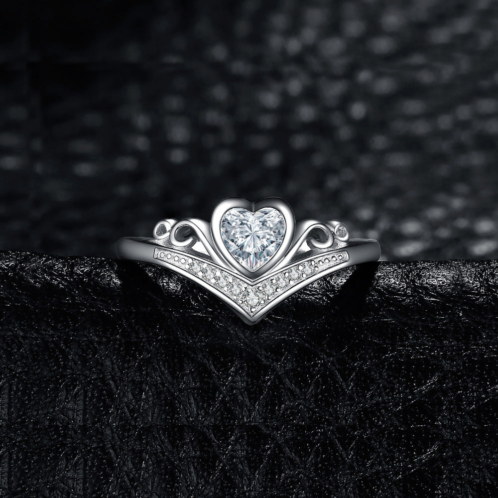 Heart Princess Crown Channel Set Promise Wedding Engagement Ring - BEAUVAN