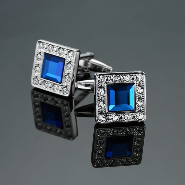 Novelty Luxury Blue white Cufflinks for Mens  Brand High Quality crown Crystal - BEAUVAN