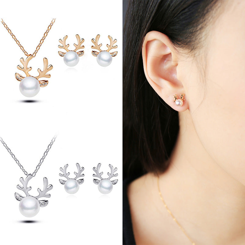 Fashion Hot Gold Silver color Xmas Christmas Pearl Deer Earrings Necklace - BEAUVAN