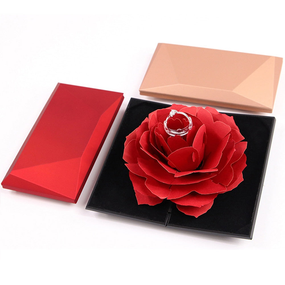 3D Pop Up Red Rose Flower Ring Box Wedding Engagement Box Jewelry Storage Holder Case - BEAUVAN