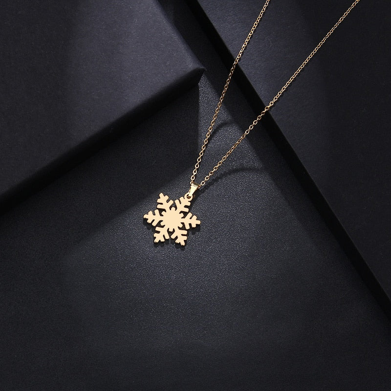 Stainless Steel Necklace For Women Man Lover's Snow Gold And Silver Color Pendant Necklace Engagement - BEAUVAN
