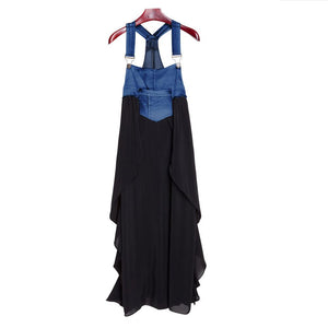 Fashionable Chiffon Skirt Loose Denim Maxi Dress