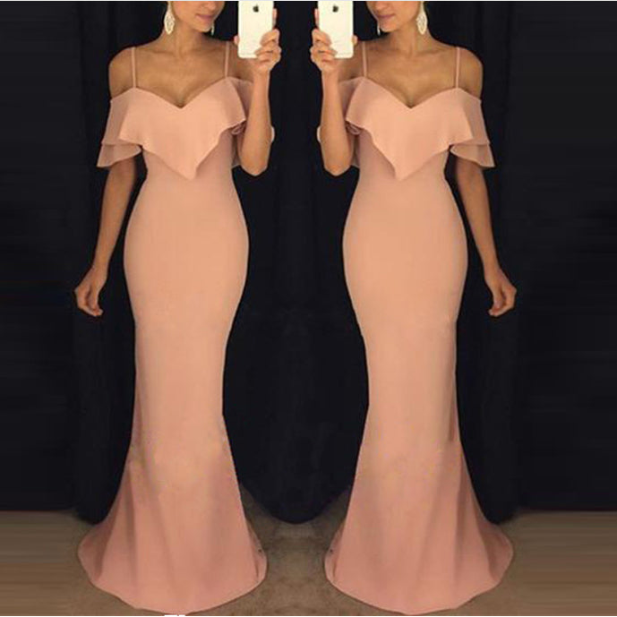 Sexy Slim Fit Sling Plain Evening Dress