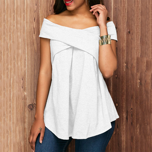 Fashion Off Shoulder Loose Pure Color Top