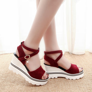 Pure Color Peep Toe Casual Shoes