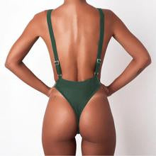Sexy Strpas Pure Color One-Piece Swimwear
