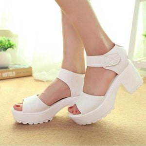 Leather Pure Color Fish Mouth Sandals Women's Shoes