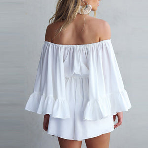 Fashion Ruffled Off Shoulder Playsuit
