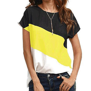 Round Neck Patchwork Stripes Short Sleeve T-Shirts