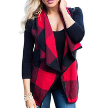 Open Front Plaid Waistcoat Cardigan