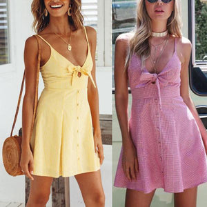 Spaghetti Strap  Bowknot Single Breasted  Sleeveless Skater Dresses