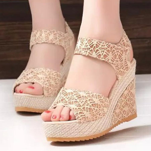 Hollow Lace Peep Toe Sandals Women's Shoes