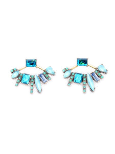 Fan Shape Crystal Earrings