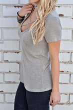 Slit  Plain Short Sleeve T-Shirts
