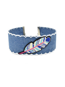 Embroidery Feather Denim Choker Necklace
