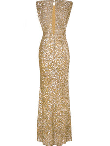 Sparkling Plain Sequin Round Neck Evening Dress