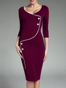 V-Neck Contrast Piping Slit Bodycon Dress