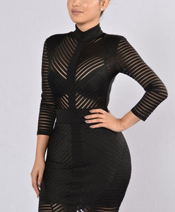 Fashion Sexy Mesh Splicing Evening Dress