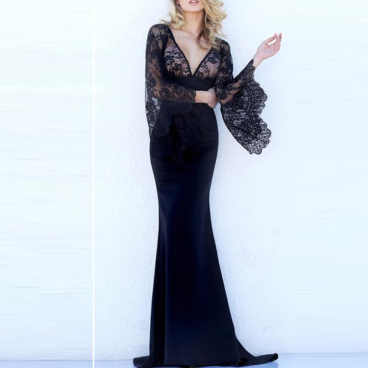 V-Neck Sexy Lace Banquet Party Dress