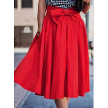Sweet Bow-Knot Swing Midi Skirt