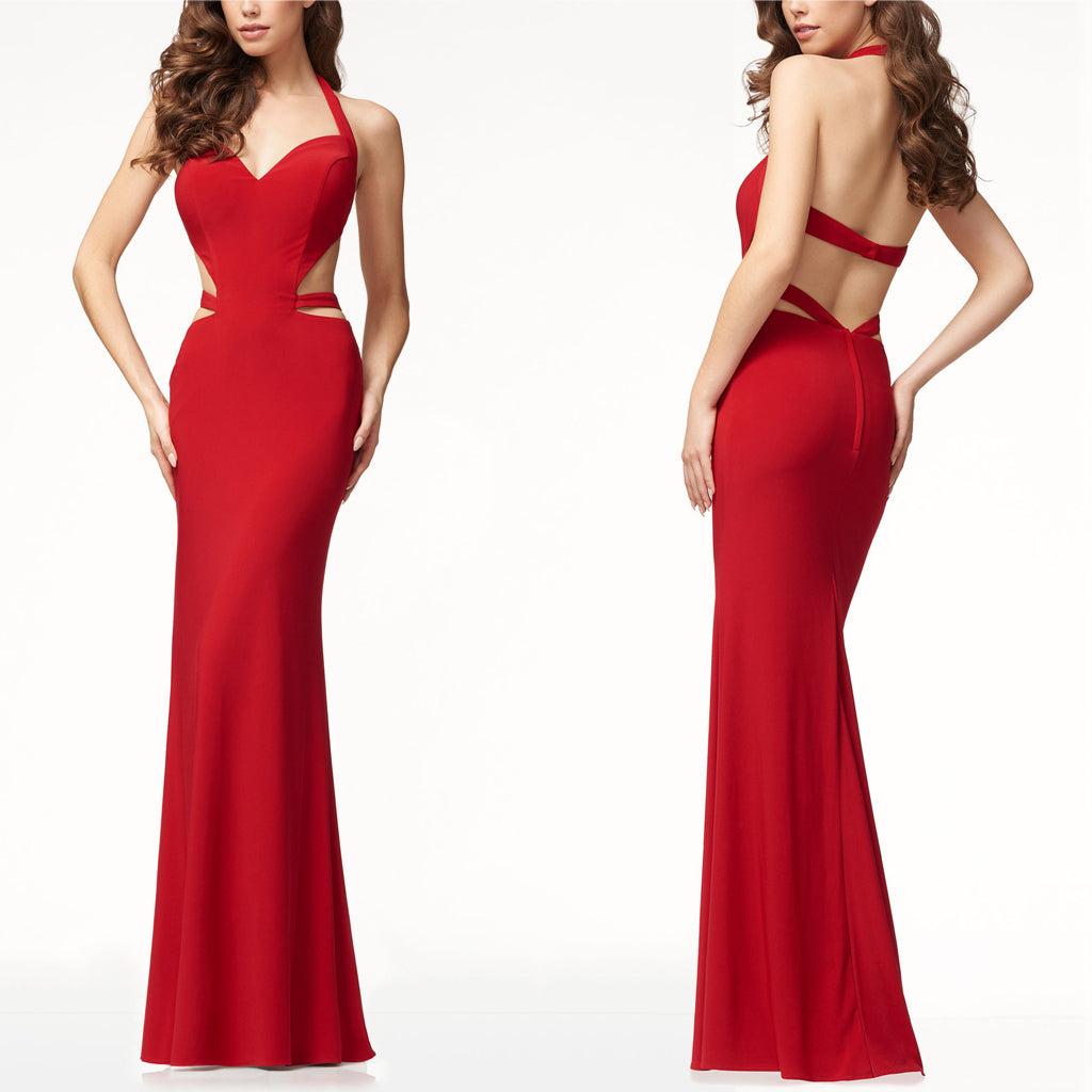 Sleeveless Halter Elegant Evening Dress