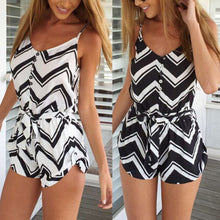 Black And White Stripes Shorts Playsuit