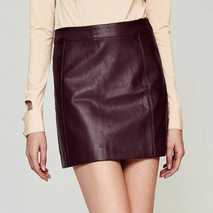 Solid-Color PU Leather Short Skirt