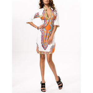 National High Stretch Printed Slim V Collar Vacation Dress