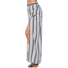 Chiffon Split Elastic Striped Vacation Pants
