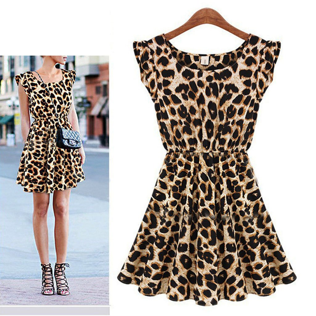 Sexy Sleeveless Round Collar Leopard Skater Dress