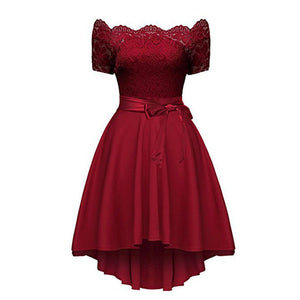 Short-Sleeved Cutaway Collar Lace Stitching Irregular Wedding Evening Dress