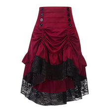 Retro Splicing Lace Flared Skirt