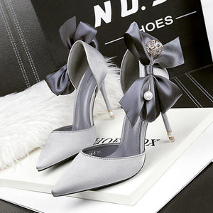 Elegant Satin Bow-Knot Wedding Party Shoes