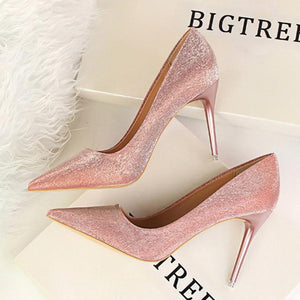 Fashion Sweet Shining Color Slim Heel Shoes