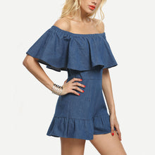 Strapless Collar Sexy Halter Lotus Leaf Sleeves Denim Playsuit