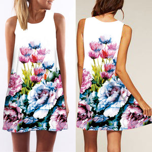 Digital Flower Printed Round Collar Sleeveless A-Line Vacation Dress