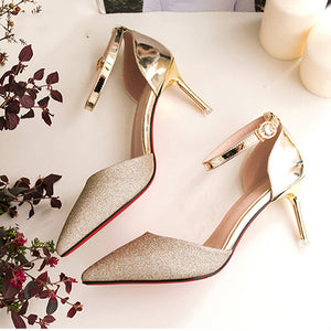 Sequins Elegant   Pointed Toe Straps Shoes