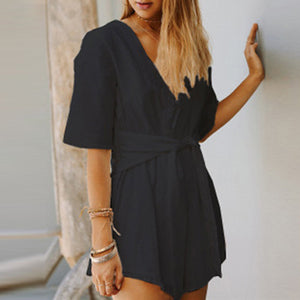 Sexy V-Neck Pure Color Short Playsuit