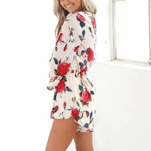 Sexy V Collar Flower Printed Long-Sleeved Short Playsuit With Belt