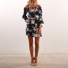 Printing Flower Off Shoulder Vacation Dress