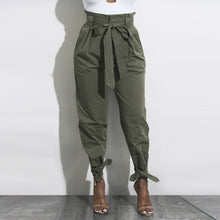 Solid Color High Waist Loose Casual Pants With Belt