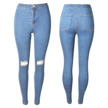 Elastic Slim Denim Ripped Jeans