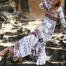 Elegant V-Neck Long Sleeved Bohemia Maxi Vacation Dress