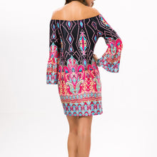 Elegant Off Shoulder Printed Beachwear