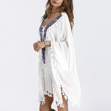 Bohemia V Collar Tassel Beach Vacation Dress