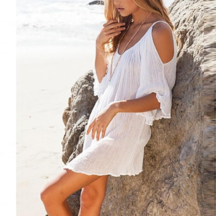 Bohemia Sexy Plain Off-Shoulder Beach Vacation Dress