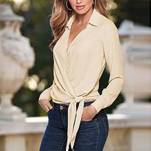 Elegant Pure Color V Collar Long-Sleeved Slim Shirt