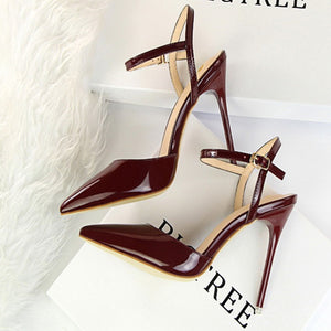 Sexy Pure Color Pointed Slim Heel Sandals